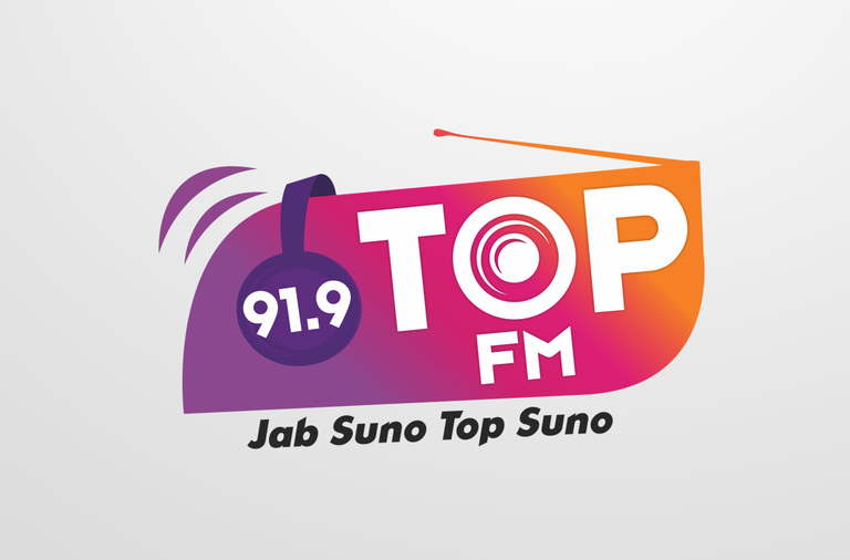 TOP FM Radio Logo Design by Purple Phase Communications